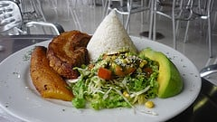 white rice plantains chicharron and avocado salad All About Avocados