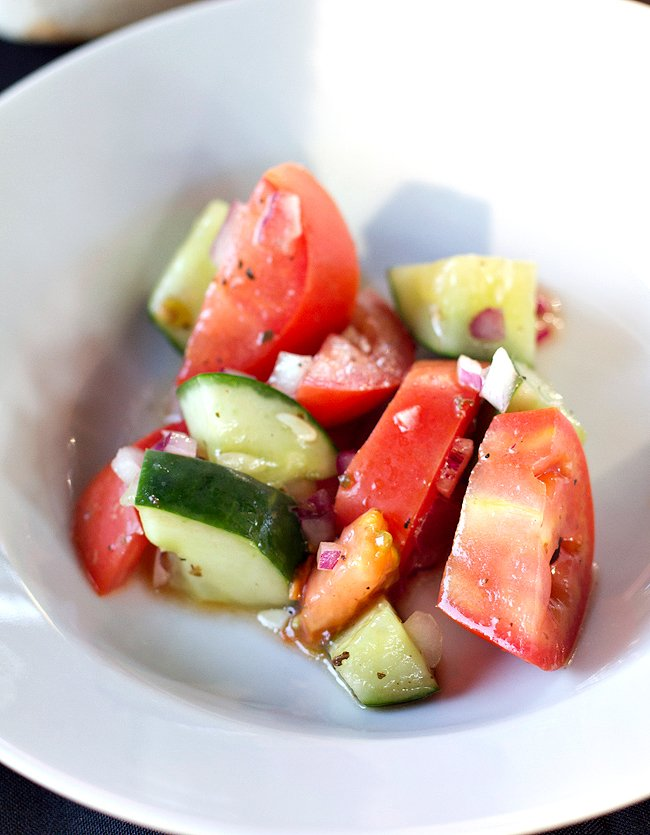 Tomato Cucumber Salad with Red Onion and Vinaigrette Dressing A Guerilla Cuisine Event by Jimi Hatt