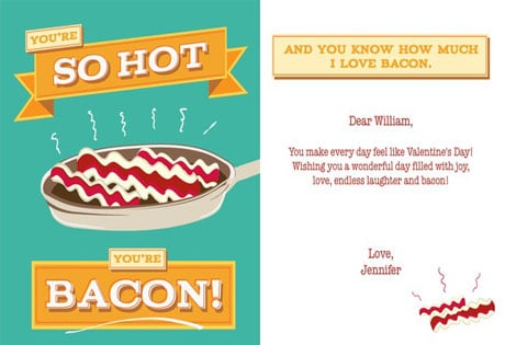 Bacon Vcard Free Foodie Valentines Day Cards