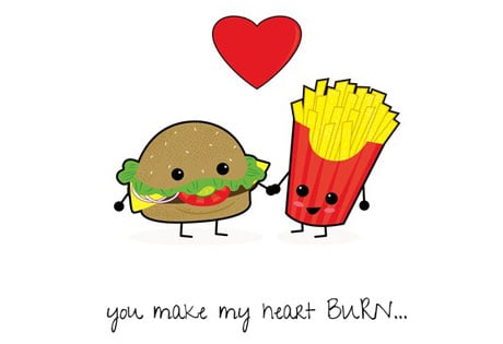 Burger and Fries1 Free Foodie Valentines Day Cards