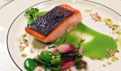 Chef Alex Tishmans King Salmon with Young Vegetables and Washington Hazelnut Chef's Summer Recipes: Alex Tishmans King Salmon with Young Vegetables and Washington Hazelnut