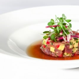 Albacore Tuna Crudo Recipe by Chef Victor Boroda of Esterel Restaurant in Beverly Hills California