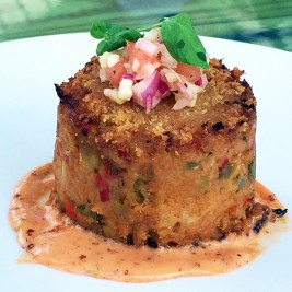 Mirliton Crab Cake from Harold's Restaurant Bar and Terrace in Houston Texas